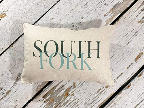 South Fork Almohada decorativa, South Fork Long Island Nueva York, The Hamptons, Eastern Long Island, decoración del hogar costero