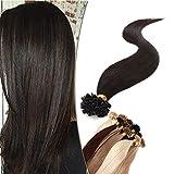 14'(35cm) SEGO Extensiones Queratina Pelo Natural sin Clip [0.8g*50 Mechas] #1B Negro Natural U Tip Keratina Cabello Humano Balayage Remy Human Hair (40g)