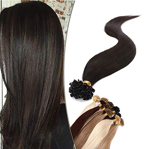 SEGO Extension Pose a Chaud Keratine Rajout Naturel - 60 cm 1B#Noir Normal [1g *50 Mèche] - Cheveux Humain Meche