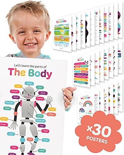30 carteles educativos para niños en las aulas de kindergarten. Aprende el alfabeto, números, formas, colores, frutas, verduras, tiempo, días de semana, animales, letras cursivas e impresas y más