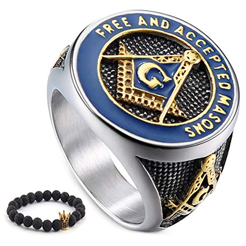 Gungneer Mason Signet Ring for Men Stainless Steel Free and Accepted Freemason Jewelry Biker Masonic Accessory