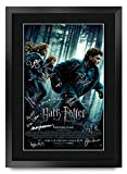 HWC Trading Deathly Hallows, Parte 1, Harry Potter El Reparto Daniel Radcliffe Emma Watson Rupert Grint Regalos Impresos, autógrafo Firmado para los Fans de la película Memorabilia – A3 Enmarcado