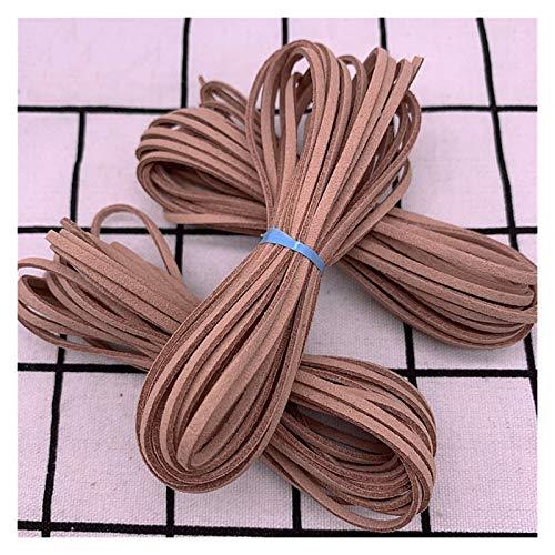 JIAHUI Cuerda trenzada de cuero artificial plana de 5 yardas, cuerda de cuero trenzado a mano, para suministros de fabricación de joyas (color: 24)
