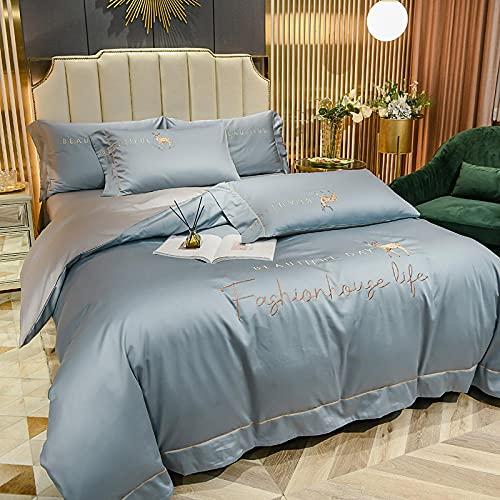 Juego de Funda de edredón para Cama de Matrimonio-Verano norte de europeo feng shui tiangu una sola cama doble lotero diario king doble boceto almohada caja de cama regalo-METRO_1,8 m de cama (4 piez