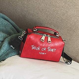 Adebie - Women Shoulder Messenger Bag Boston Handbag Fashion Letter Printing Halloween Tote Bags Wide Strap Crossbody Bag for Women Sac 22cm12cm16cm Red []