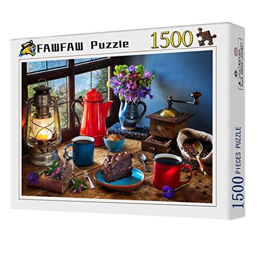 FAWFAW Rompecabezas para Niños Y Adultos 1500 Piezas, Molinillo De Café Cafetera Olla Bodegón, 1500/1000/500/300 Piezas, Brain Challenge Puzzle Games