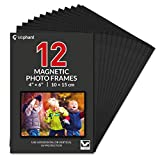 labphant 12 Pack 4x6 Inch Magnetic Picture Frames; Photo Pocket Frames with Black Borders for Fridge 4 x 6 Inch Great for Displaying Pics on The Refrigerator (Black)