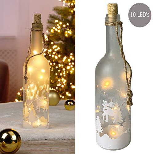 10 LEDs Weihnachtliche LED-Glas-Flasche mit Rentier warm weiß Dekoration Dekoflasche