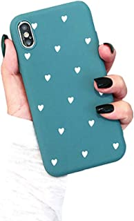 BONTOUJOUR iPhone XS Max Phone Case, Beautiful Art Polka Dot Flower Little Heart Pattern Serie Cover Case Soft TPU 360 Degree Good Protection- Matte Little Heart-Blue