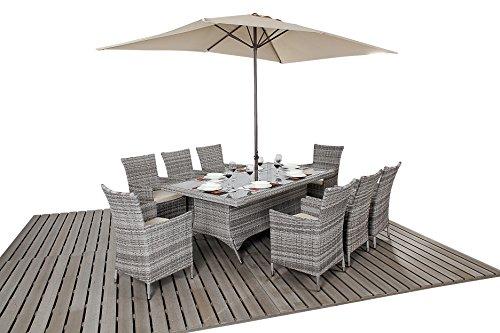 Oak Furniture House Dallas Rustica, mobili da Giardino, 8posti, Tavolo da Pranzo con sedie