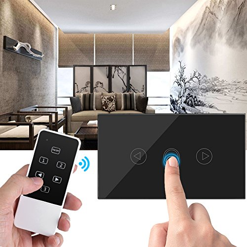 【 】 Touch Switch, Touch Screen LED Light Dimmer Switch Wireless RF Remote Control Glass Panel(Black) [Christmas Gift, New Year's Gift]
