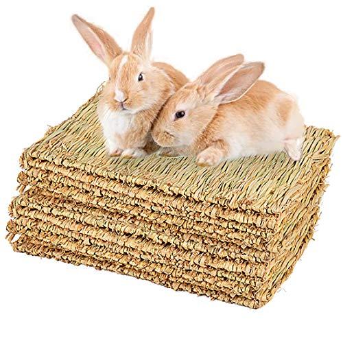 PINVNBY Rabbit Grass Mat, Bunny Natural Straw Woven Bed, Small Animal Hay Mat Sleeping, Chewing,...