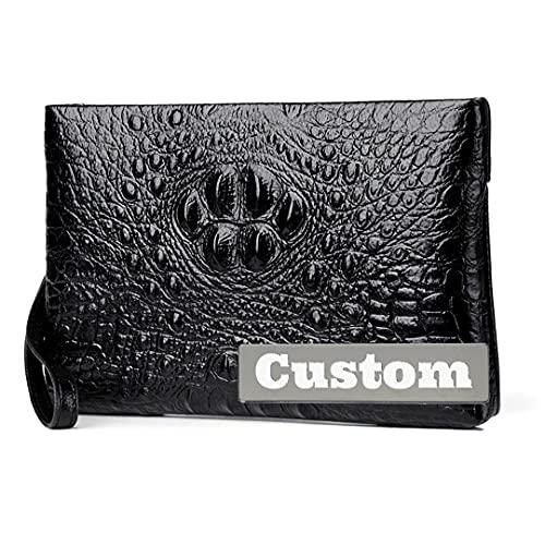 Nombre Personalizado Personalizado Cuero White Clutch Wallet Compacto para crédito Vegan Thin Card Wallet Men (Color : Negro, tamaño : One Size)
