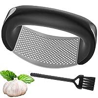 schiaccia aglio, plddy garlic press stainless steel presse-ail spremiaglio in acciaio inossidabile per aglio e spazzola aglio pressa manuale per cucina,spremiaglio facile da usare e da pulire