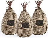 MOFunny 3 Pack Bird Nest, Hand Woven Hanging Hummingbird House, Outside Roosting Pocket Nest Provides Shelter for Finch & Canary (Straw Rope)