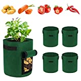 WHATWEARS Bolsa de cultivo de Potato, 5 unidades, 10 galones vegetales, bolsa de cultivo transpirable para jardín, macetas de tejido de tomate con para verduras, frutas, Home Grow Bag (verde oscuro)