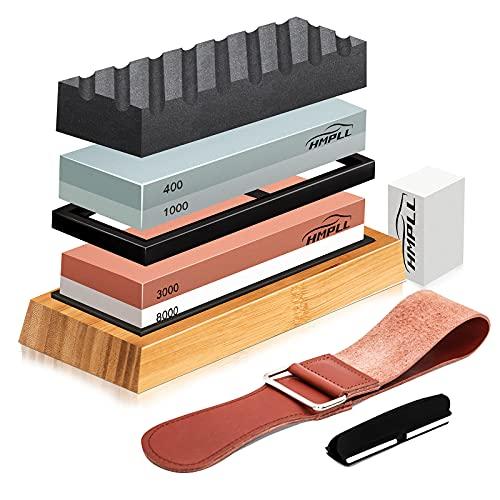 Knife Sharpening Stone Set, HMPLL Whetstone Knife Sharpener Stone Set 4 Side Grit 400/1000 3000/8000, Professional Whetstone Include Non-Slip Bamboo Base, Leather Strop, Flattening Stone & Angle Guide