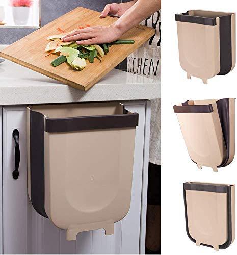 Xiayanmei Hangende vuilnisbak voor keukenkastdeur, inklapbare vuilnisbak kleine compacte vuilnisbak kan worden bevestigd aan lade slaapkamer slaapzaal auto afvalbak 1 Pack