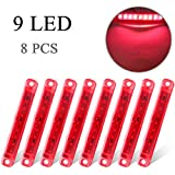 8 x Rojo Luces laterales para coche De uso universal para remolques de camiones Luces de señalización laterales delanteras y traseras Luz de posición Luz indicadora 12-24V impermeable