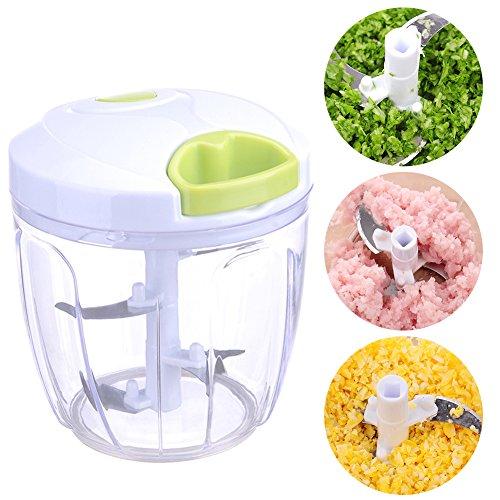XIAMU Essence de Cuisine Essentiel, manueller Zerkleinerer für Gemüse, Zerkleinerer für Gemüse, einfach von Hand gezogen, Mischer für Gemüse, Zerkleinerer Veggie Chopper mit 5 Klingen