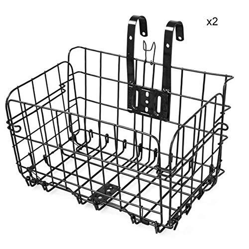 FFSM Fietsmand van metaal, mesh, Junior Bike Carrier Bag 2 verpakkingen, opvouwbaar, met snelle ontgrendeling voor huisdiertransportaars, boodschappen en koffers