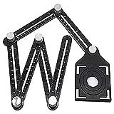OneMoreT - Righello multiangolare, in lega di alluminio e metallo, righello pieghevole con...