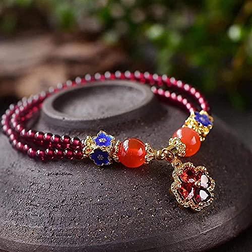 Cuentas de arte de piedras preciosas de la niña Feng shui brazalete de cristal granate cuatro pedales hoja pulsera afortunado riqueza ciruela flor colgante pulsera abalorios brazalete para mujeres alo