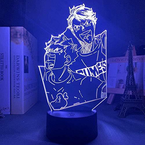 3D Anime ilusión nocturna – Lámpara de noche LED con personaje anime – Con mando a distancia – 7 colores – Decoración de dormitorio lámpara de mesa – Niños Navidad cumpleaños Festival Regalo