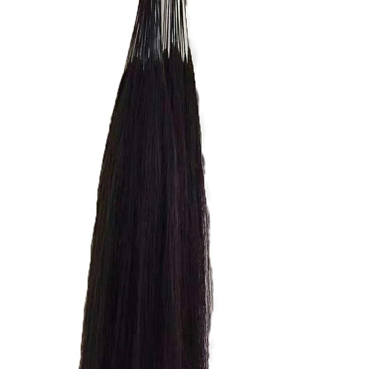 電圧まで予知JULYTER 羽毛エクステンション人間の毛先のヒントフュージョンアンボー手編み未縫合ヘアーエクステンション (色 : 黒, サイズ : 60cm)
