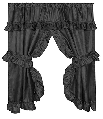 Home Bargains Plus Diamond Dot Ruffled Fabric Bathroom Window Curtain with Attached Valance and Tiebacks - Black
