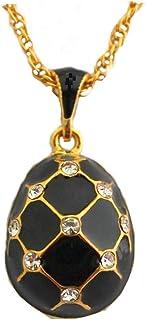 f5f1ce9c63 Pendentif Oeuf Style Fabergé Noir avec 18 Cristaux Swarowski Elements et sa  chaîne OE25