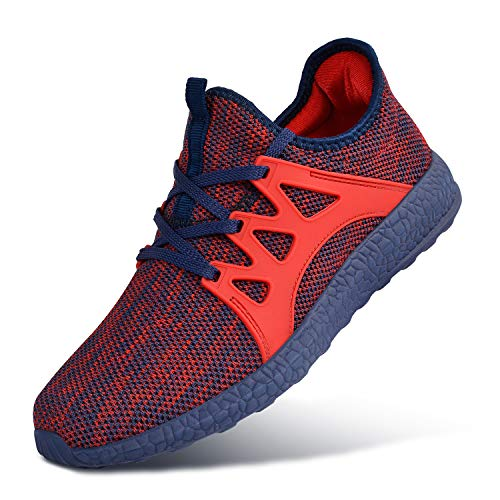 Mens Gym Shoes Sport Athletic Sneakers Running Walking Lightweight Breathable Mesh Shoes Red Blue Size 9.5