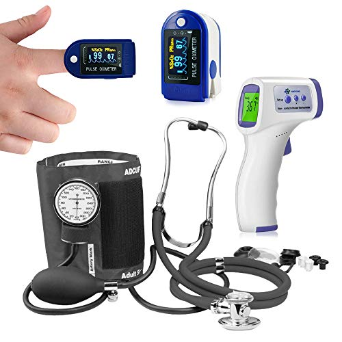 ASA Techmed First Responder Lite Kit - Blood Cuff, Pulse/Oxygen Reader, Stethoscope and Non-Touch Thermometer, Ideal for Nurses, Firefighter, EMS and Students - Flatten The Curve Kit