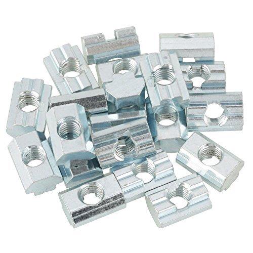 20pcs Nutensteine Standard-Gleitmutter verzinkter Kohlenstoffstahl Schiebe T Nut Mutter für Aluminiumprofil Zubehör(T-Nut-Muttern Typ 40 M8)