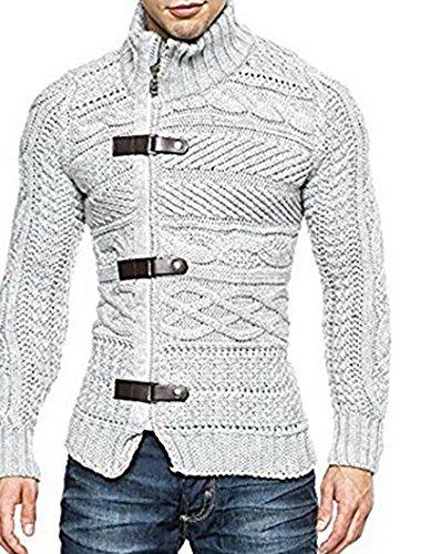 Gemijacka Gebreid vest voor heren, grof gebreide trui met opstaande kraag, lange mouwen, sweatjack, sweatshirt, overgangsjas