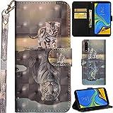 Ooboom Samsung Galaxy A7 2018 Hülle 3D Flip PU Leder Schutzhülle Handy Tasche Hülle Cover Ständer mit Kartenfach Trageschlaufe für Samsung Galaxy A7 2018 - Katze Tiger