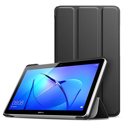 MoKo Huawei MediaPad T3 7.0 Hülle - Ultra Lightweight Slim PU Leder Tasche Schutzhülle Schale Smart Shell Case Cover mit Standfunktion für Huawei MediaPad T3 7.0 Zoll Tablet, Schwarz