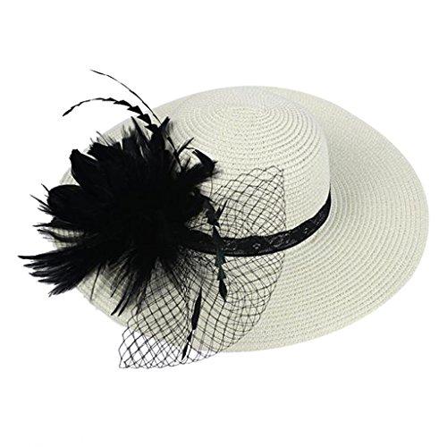 Chapeau des Femmes Chics Floral Fascinateur Plume Thé Course Derby Accessoires de Cheveux de Parti - Noir Blanc