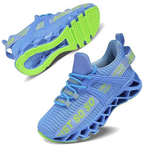 Vivay Unisex-Kinder Turnschuhe Sportschuhe Hallenschuhe Leicht Atmungsaktiv Laufschuhe Sneaker für Jungen Mädchen (2Hellblau, 35)