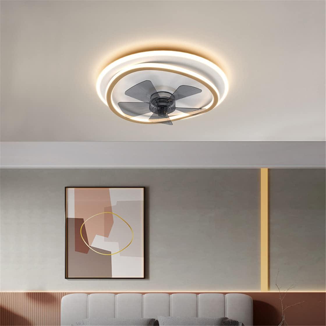 OMGPFR Luz de Techo Simple con Ventilador, Ø45 CM Silencio y Control Remoto Regulable Iluminación de Ventiladores de Techo Reversibles Luces de Velocidad del Viento Ajustables Lámpara led