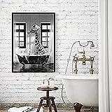 YANGL Wandbilder Schwarz Weiß 30x40cm Süße Giraffe beim