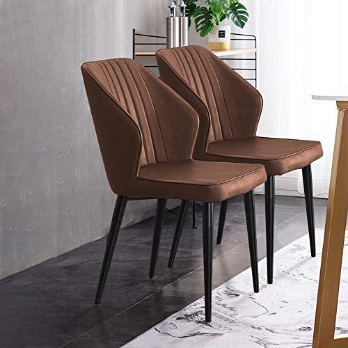 CLIPOP - Juego de 2 sillas de comedor retro de piel sintética con respaldos y patas de metal, silla