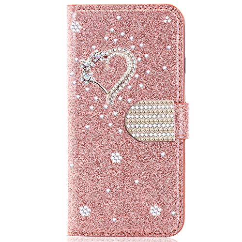 Miagon for Samsung Galaxy S20 Ultra Glitter Wallet Case,3D Diamond Kickstand Magnetic Bling PU Leather Flip Protective Cover,Heart Rose Gold