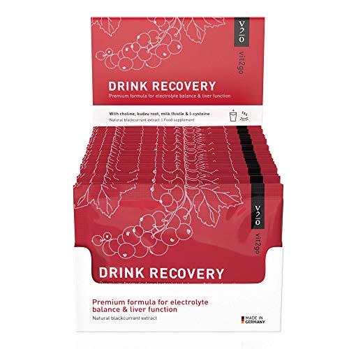 Vit2go DRINK RECOVERY (30 elektrolytzakjes) - Elektrolytpoeder, detox & hydratatie van de lever, herstelpoeder voor in de ochtend met vitamines, choline, kudzu-wortel, mariadistel & L-cysteïne