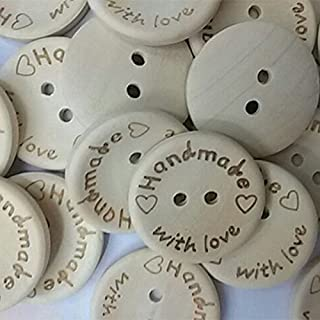 Shopline 100 Pieces DIY Nature Wood Sewing Buttons with 2 Holes Scrapbook Handmade Graft Button / 20mm