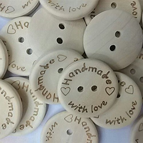 Shopline 100 Pieces DIY Nature Wood Sewing Buttons with 2 Holes Scrapbook Handmade Graft Button / 25mm