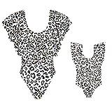 Loalirando Bikini Traje de Baño Madre e Hija de Una Pieza para Mujer Bañador con Diseño de Leopardo con Volantes