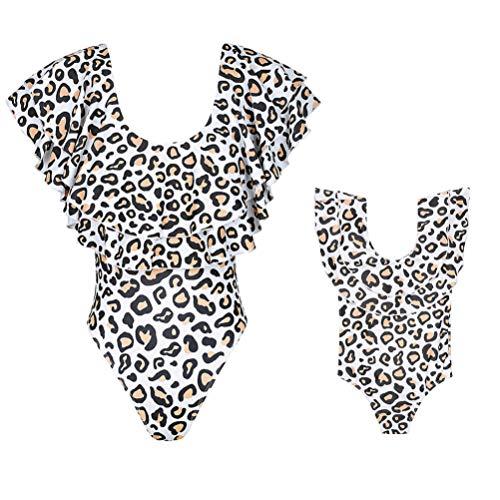 Loalirando Mutter Tochter Familie Matching Outfits Leopard Print Schwimmanzug Bikini Set (1-2 Jahre, Tochter)