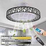 QXX Ventilatore a soffitto Lampada, soffitto 72W LED Fan Luce Invisibile Luce, Il Vento a velocità Regolabile con Telecomando & App dimmerabili Cold Light/Neutro/Caldo Φ50cm (Color : Black)