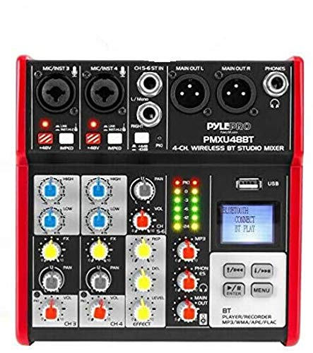 PYLE Sound 6 Channel Bluetooth Compatible Professional Portable Digital Dj Console w/USB Mixer Audio Interface-Mixing Boards For Studio Recording-PylePro PMXU68BT, Black